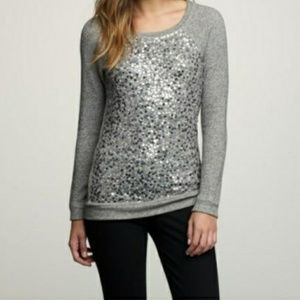J. Crew Sequin Glam Gray/Silver Sweatshirt